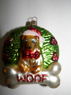 2001 Woof Dog In Wreath Christmas Mercury Glass Ornament - Poland