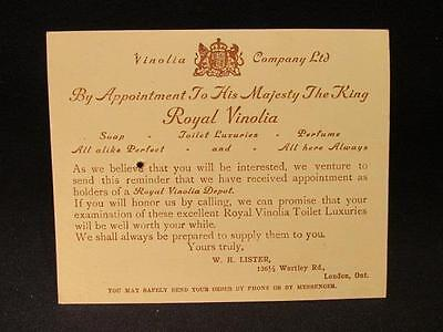 Royal Vianolia Co Edwardian Trade Card with Prescription on Back London Ontario