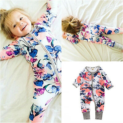 Newborn Toddler Baby Boys Girls Floral Romper Jumpsuit Bodysuit Clothes Outfits