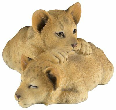 """Two Sleepy Lion Cubs Figurine 5.75"""" Long Polystone New In Box"""