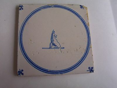 Delft Tile c. 18th / 19th  century Dog