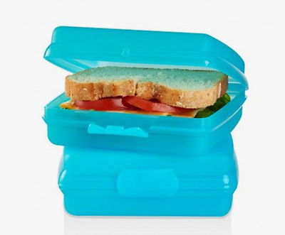 New Tupperware Sandwich Keepers Set of 2~Aqua Blue~Great for Crayons Stickers