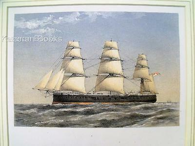 Antique Colour Lithographic Print HMS Hercules Victorian Ships Of Royal Navy