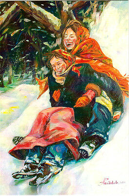WINTER FUN Women enjoy downhill sliding Modern Russian card