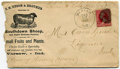 1890 Warsaw Indiana E.h. Upson & Bros Southdown Sheep   Envelope & Stationary