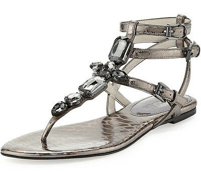 NEW Michael Kors Women's Jayden Jeweled Ankle Strap Sandals Grey Leather Shoe 10