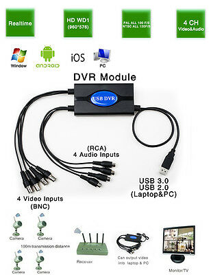 960P Realtime 4 Channel USB DVR Video Supervision Capture Card Phone Remote view