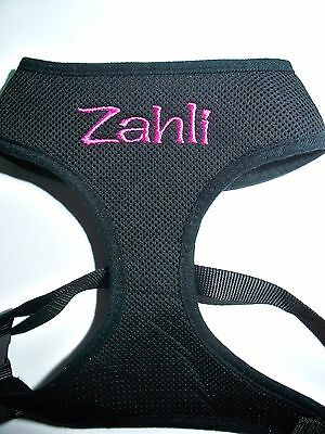 NEW Personalised Dog Harness Soft Leash Vest  Mesh Puppy  Adjustable LARGE SIZE
