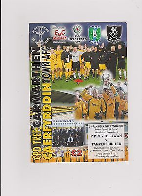 Carmarthen Town v Tampere United 2006/07 Intertoto Cup