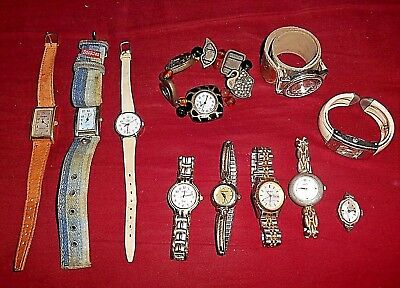 Large Junk Drawer Mixed Lot Of 11 Women's Or Girls Watches