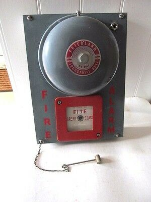 Reclaimed Vintage Industrial Fire Bell / Fire Alarm Push With Hammer Complete