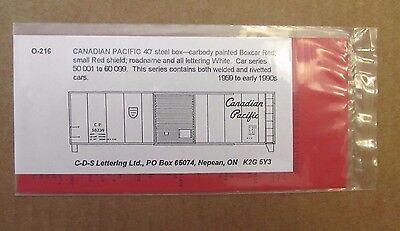 CDS O Scale Dry Transfer Decal Canadian Pacific 40' Steel box O-216 1959-1990s