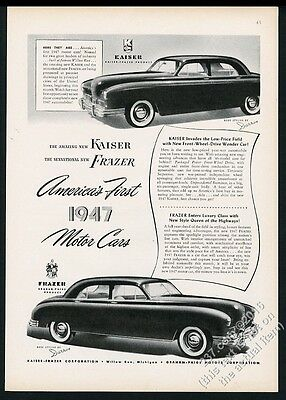 1947 Kaiser-Frazer sedan 2 car art vintage print ad
