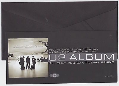 U2 - All That You Can't Leave Behind - Rare UK album playback invitation