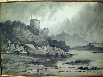 ANTIQUE 1900 EUROPEAN SCOTTISH INK WASH PAINTING DUNOLLIE CASTLE By J.J. ALLAN