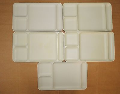 Set of 5 Tupperware Divided Dining Trays 5 Compartment, Stackable, Ivory/Almond