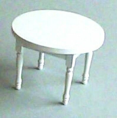 Dolls House Furniture:  White Circular Table   : 12th scale Round Table
