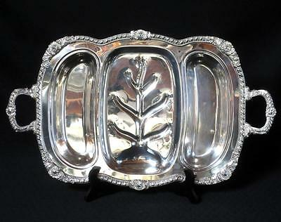 Vtg Birmingham Silver on Copper Footed Serving Tray New York Heavy & Ornate