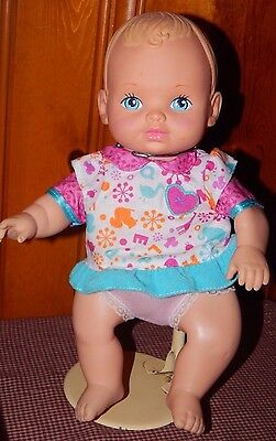 "Water Baby Vintage 1990  Lauer Toys  12"" Tall Blond Hair Blue Eyes Baby Doll GUC"