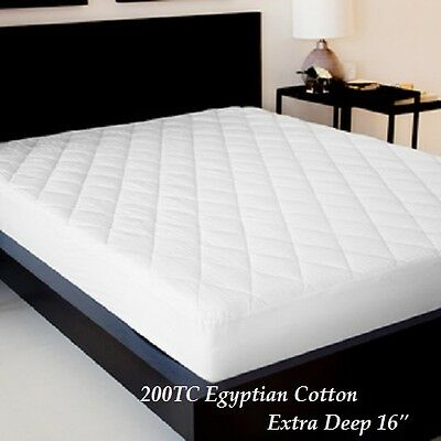 "Luxury Hotel Quality Egyptian Cotton Quilted Extra Deep 16"" Mattress Protector's"