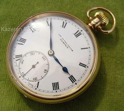 Vintage Solid 9ct Gold Bravingtons Syren Fob Pocket Watch Working Hallmarked