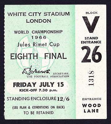 1966 World Cup FRANCE v URUGUAY *Excellent Condition Ticket*