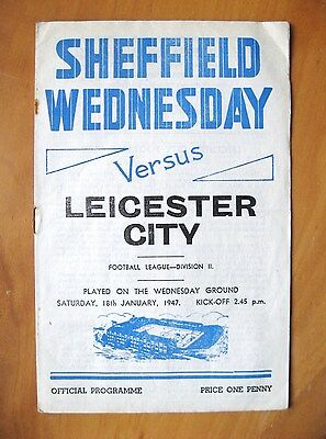 SHEFFIELD WEDNESDAY v LEICESTER CITY 1946/1947 *VG Condition Football Programme*