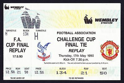 1990 FA Cup Final Replay CRYSTAL PALACE v MANCHESTER UNITED *Unused Ticket*