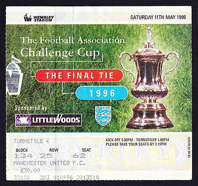1996 FA Cup Final LIVERPOOL v MANCHESTER UNITED *VG Condition Ticket*