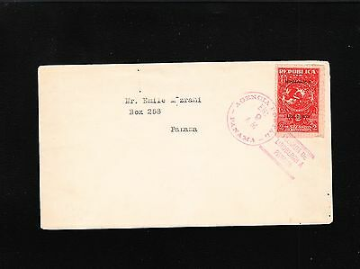 Panama First Day Red Lindbergh Postmark & Overprint Stamp 1928 Cover 4q
