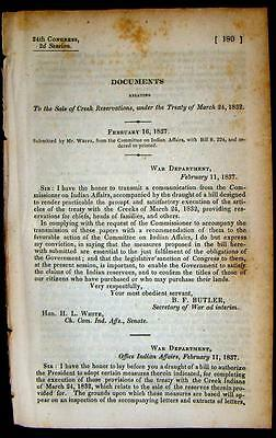 1837 CREEK INDIANS Sale of Creek Reservations under March, 1832 Treaty