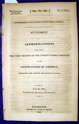 1834 APPROPRIATIONS Payments to Indian Tribes, Gov. Expenses, Army, Navy