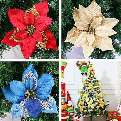 5x Christmas Flowers Tree Decorations Glitter Hollow Wedding Home Party Decor