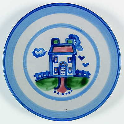 M A Hadley COUNTRY SCENE BLUE House Salad Dessert Plate 5757494