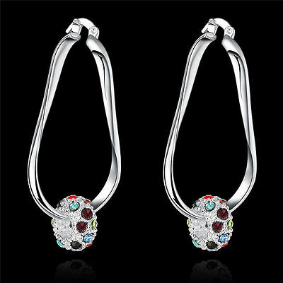 Fashion wedding party Crystal 925 sterling Silver charms women Earring Jewelry