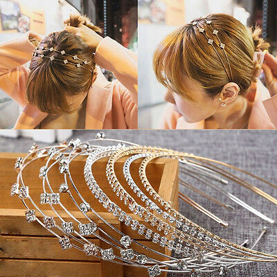 Fashion Women Jewelry Metal Crystal Rhinestone  Headband Head Piece Hair Band