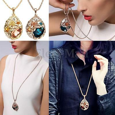 Fashion Rhinestone Crystal Gold Sweater Chain Women Long Pendant Necklace Gift