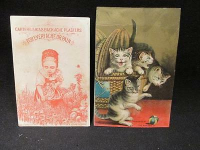Carter Medicine Basket of Kittens & Back-Ache Plasters 2 Victorian Trade Cards