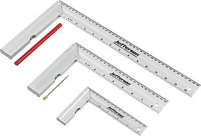 Jefferson SQPK03 Tri Try Square Set Aluminium Carpenters Heavy Duty 3 Piece