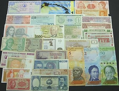 Collection with 30 different uncirculated circulated banknotes paper money LOT 6