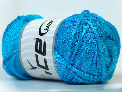 Lot of 4 x 100gr Skeins Ice Yarns MACRAME CORD Knitting Wool Turquoise