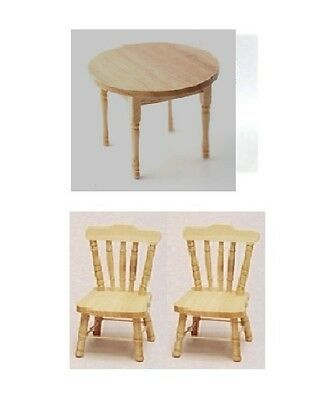 Dolls House Furniture:   Light Wood Round Table & Two Chairs    12th scale