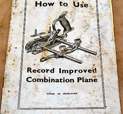 RECORD INSTRUCTION MANUAL for No. 050 COMBINATION PLANE
