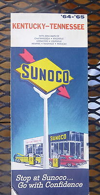 1964 1965 Kentucky Tennessee  road map Sunoco  oil gas  Paduca Nashville