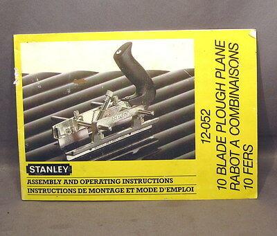 Stanley Operating Instructions For 12-052 Plough Plane  1960/70's