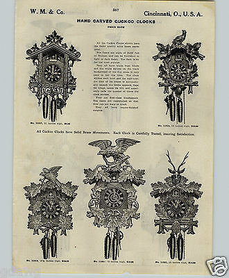 1913 PAPER AD 2 Sided Hand Carved Cuckoo Quail Clock