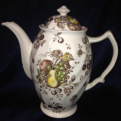 Johnson Brothers Autumn's Delight Coffee Pot 48 Oz Brown & Multi Color Fruit