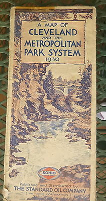 1930 Cleveland Metro Park Systetem road map Sohio oil gas