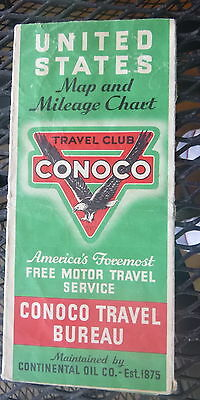 1936 United States road map Conoco  oil gas Travel Bureau
