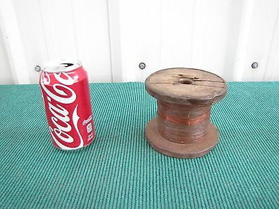 Vintage Antique Copper Wire on Wood Spool  3.5 Lbs  .025 Thick